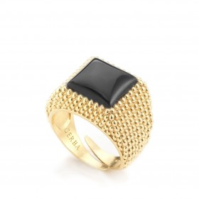 Ring unisex yellow silver and onyx GERBA 162/3