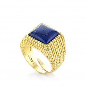 Ring unisex silver yellow and lapis GERBA 162/4