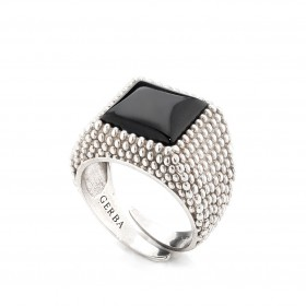Unisex ring in silver with GERBA 162/7 onyx stone