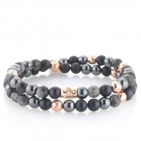 Man bracelet in rose silver and stones double round GERBA DOUBLE BLACK