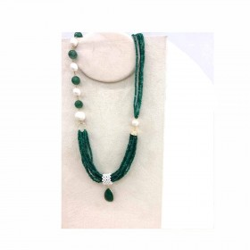 Multi-strand woman necklace in gold-plated silver and MARAKO 'CN3074 stones