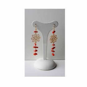 Women's dangle earrings in gold-plated silver with red MARAKO 'OR1393 coral