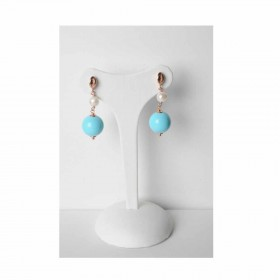 Women's dangle earrings in gold-plated silver and MARAKO 'OR1400 stone