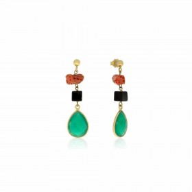 Women's dangle earrings in gold-plated silver and MARAKO 'OR1821 stone