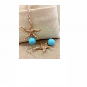 Women's dangle earrings in gold-plated silver and MARAKO 'OR2007 stone