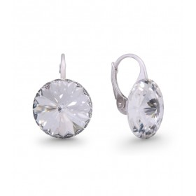 Woman silver lobe earrings with Swarovski crystals SPARK KA112214C