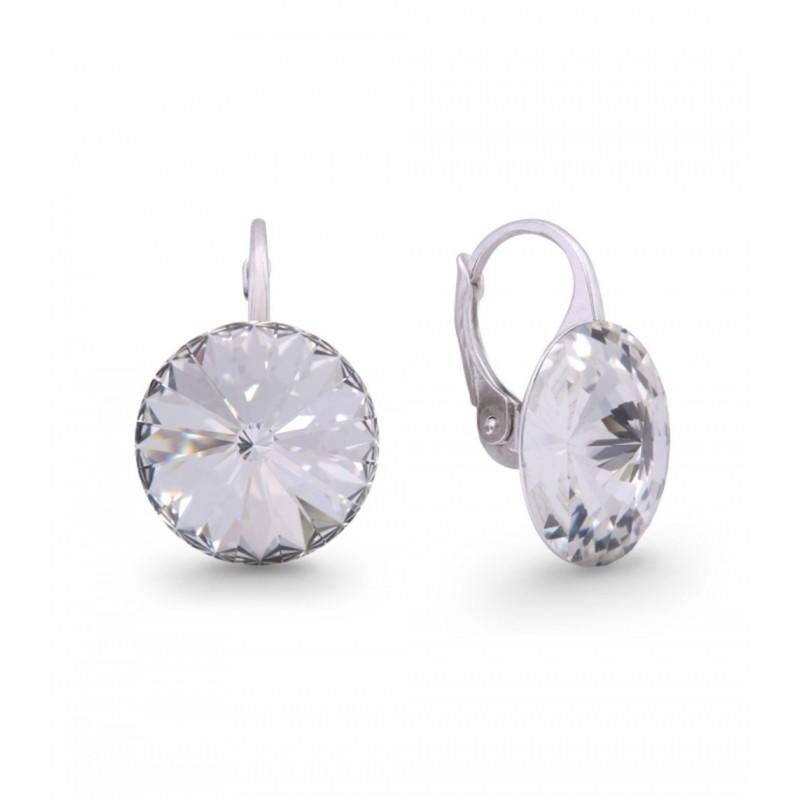 Woman silver lobe earrings with Swarovski crystals SPARK KA112214C