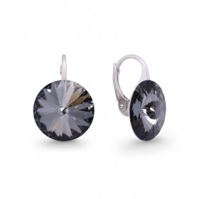 Woman silver lobe earrings with Swarovski crystals SPARK KA112214SN