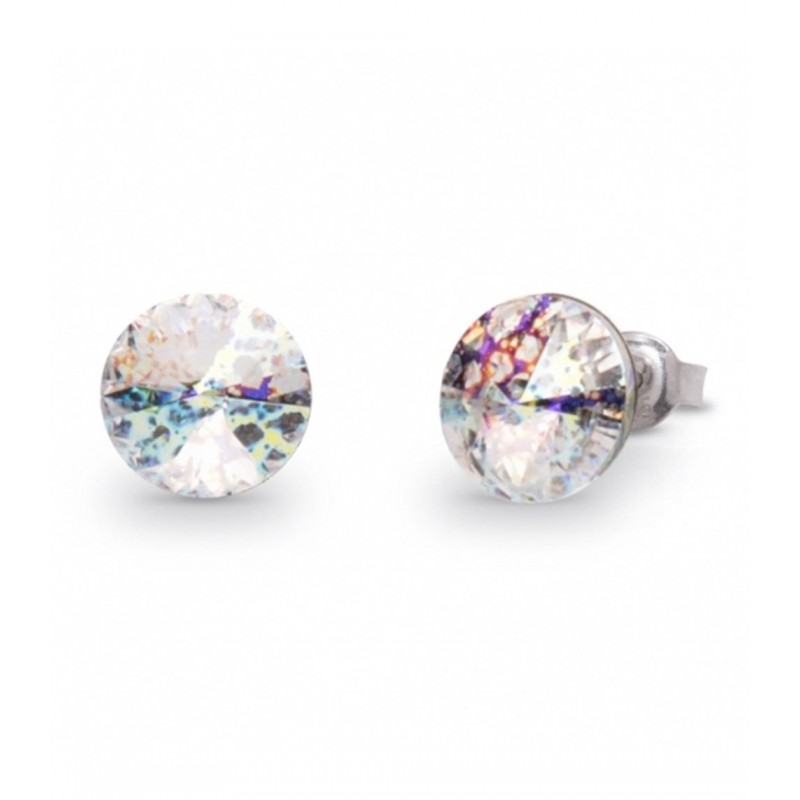 Silver earrings with silver lob and Swarovski crystals SPARK K1122SS39WP