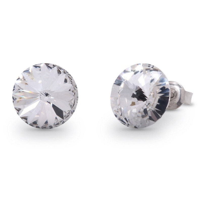 Woman silver lobe earrings with Swarovski crystals SPARK K1122SS47C