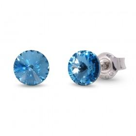 Woman silver lobe earrings with Swarovski crystals SPARK K1122SS29AQ
