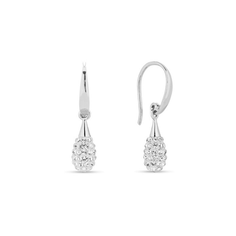 Woman silver earrings with Swarovski crystals SPARK KWPAVED1C