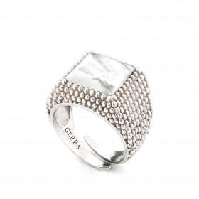 Anello unisex in argento con pietra madreperla GERBA 162/5
