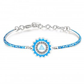 Woman bracelet in steel and enamel and crystals from BROSWAY BHK121 CHAKRA collection