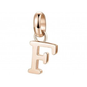 Très-Jolie women's pendant Letter F in steel and pink pvd BROSWAY BTJM225