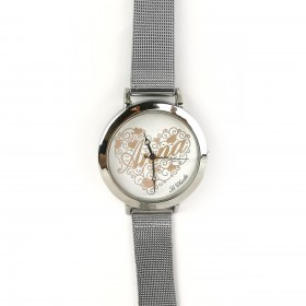 LE CHICCHE customizable clock in steel and silver pvd OROLNOME1