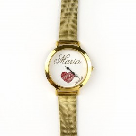 Customizable clock LE CHICCHE in steel and gold pvd OROLNOME3