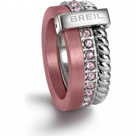 Anello da donna BREIL TRILOGY TORSION in acciaio e cristalli rosa TJ1723