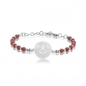 BROSWAY CHAKRA SACRO CUORE women's bracelet in steel and red jasper BHK219