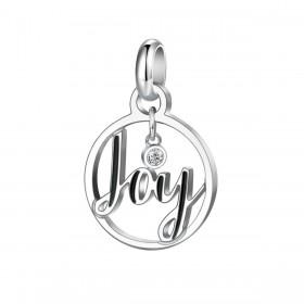 Pendente donna con scritta Joy BROSWAY TRES JOLIE in acciaio e cristallo BTJM272