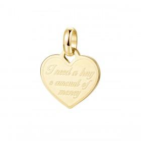 Pendente donna cuore BROSWAY TRES JOLIE in acciaio pvd oro e scritta BTJM287