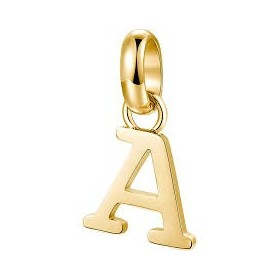 Letter A A BROSWAY TRES JOLIE pendant in steel and gold PVD BTJM315