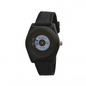SMARTY VINYL unisex wristwatch in black and blue silicone SW045C03