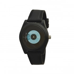 SMARTY VINYL unisex wristwatch in black and light blue silicone SW045C10