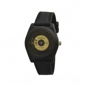 SMARTY VINYL unisex wristwatch in black and yellow silicone SW045C04
