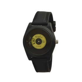 SMARTY VINYL unisex wristwatch in black and yellow silicone SW045C08