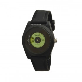 SMARTY VINYL unisex wristwatch in black and green silicone SW045C07