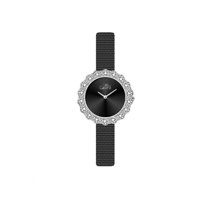Orologio da polso donna MISS LAURA ROSE in acciaio e quadrante nero ROS1.1.3
