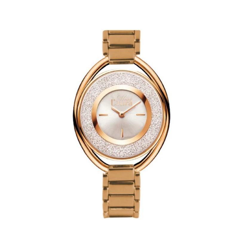 Orologio da polso donna MISS LAURA in acciaio oro e quadrante bianco RUB4.3.4
