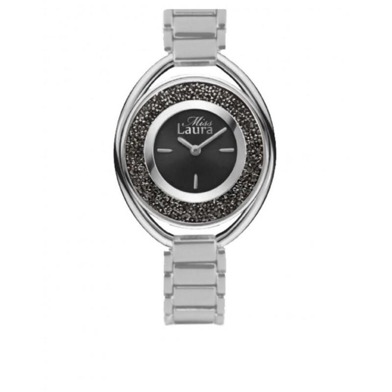 Orologio da polso donna MISS LAURA in acciaio quadrante nero RUB3.1.3