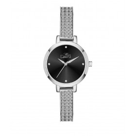 MISS LAURA DAISY women's wristwatch in steel and black leather MLWDAI113