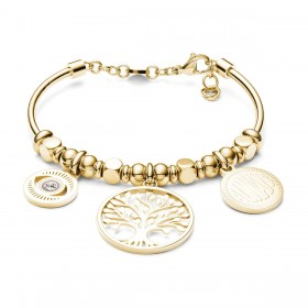 BROSWAY TRES JOLIE woman bangle bracelet in gold steel and crystals BTJMS789