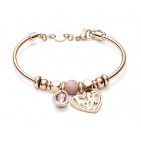 Bracciale donna BROSWAY TRES JOLIE in acciaio rosa rodonite e cristalli BTJMS792