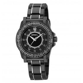 Orologio solo tempo donna BREIL MANTALITE in acciaio e cristalli neri TW0986
