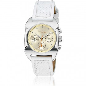 Orologio cronografo donna BREIL TRIBE in acciaio e pelle bianca TW0349
