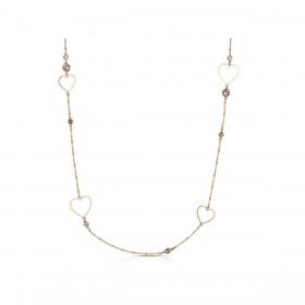 Collana lunga donna BROSWAY SIGHT in acciaio oro rosa con cuori e cristalli rosa BGH04