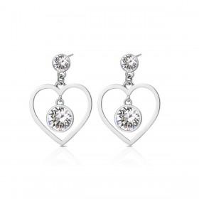 Orecchini cuore al lobo donna BROSWAY SIGHT in acciaio e cristalli bianchi BGH25