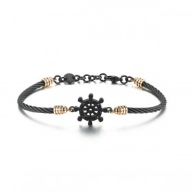 Men's bracelet in black and gold BROSWAY steel with rudder and BHO28 crystals