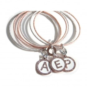 Two-colored, rigid bronze bracelet with Charm Letters Alphabet with White Zircons DVCCIO ZXBNOM5 / 10