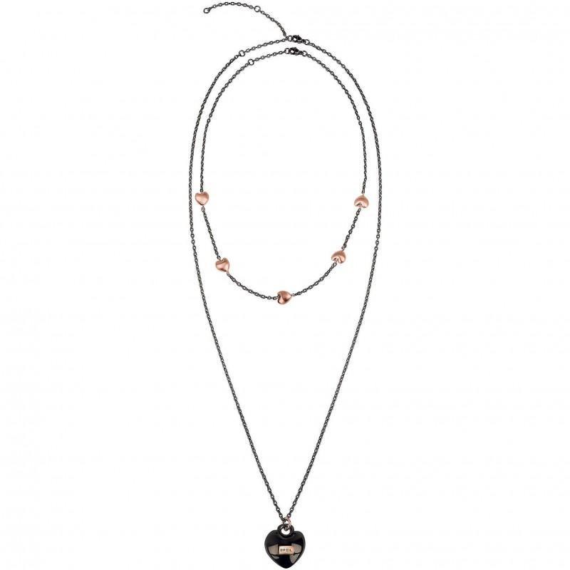 Collana donna doppia catena BREIL KILOS OF LOVE in acciaio nero satinato TJ2734