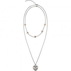 Collana donna doppia catena BREIL KILOS OF LOVE in acciaio satinato TJ2733