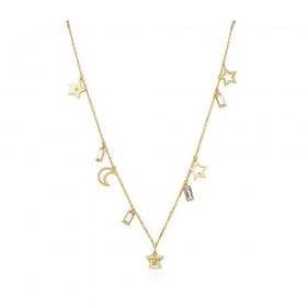 Collana donna BROSWAY SCRIPT in acciaio pvd oro con pendenti e cristalli BAH06