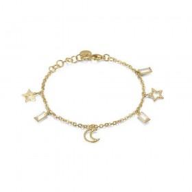 Bracciale donna BROSWAY CHANT in acciaio oro con pendenti a stelle e cristalli BAH14