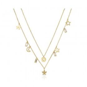 Collana donna BROSWAY CHANT in acciaio oro con pendenti e cristalli BAH04