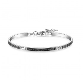BROSWAY BEHAVE man bracelet in black enamel steel and BBH16 engraving