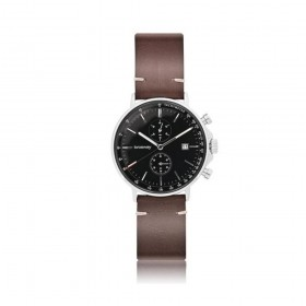 BROSWAY FLAT man chrono watch in steel and brown leather WVO17